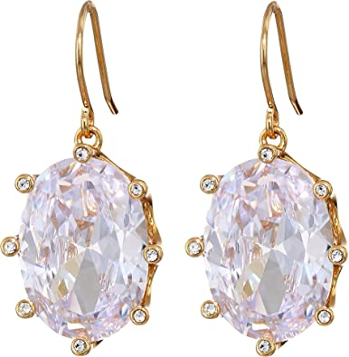 a96c9f4f95f8 Amazon.com: Kate Spade New York Women's Shine On Oval Drop Earrings  Clear/Gold One Size: Jewelry