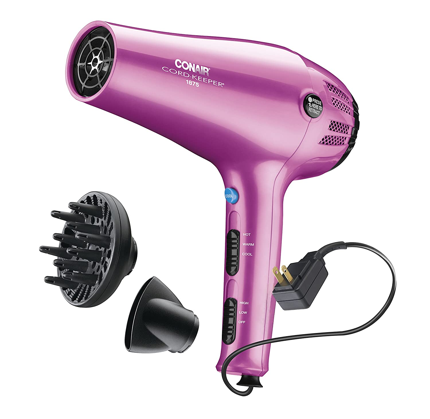 Conair 1875 Watt Cord-Keeper Hair Dryer with Ionic Conditioning; Pink 209BCR