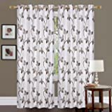Fresh from Loom 2 Piece Eyelet Polyester Window Curtain - 5ft, Coffee