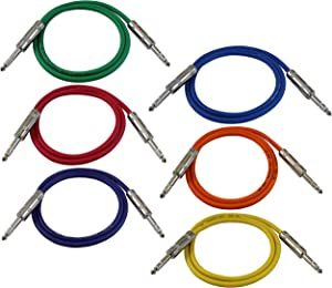 "GLS Audio 3ft Patch Cable Cords - 1/4"" TRS to 1/4"" TRS Color Cables - 3' Balanced Snake Cord - 6 Pack"