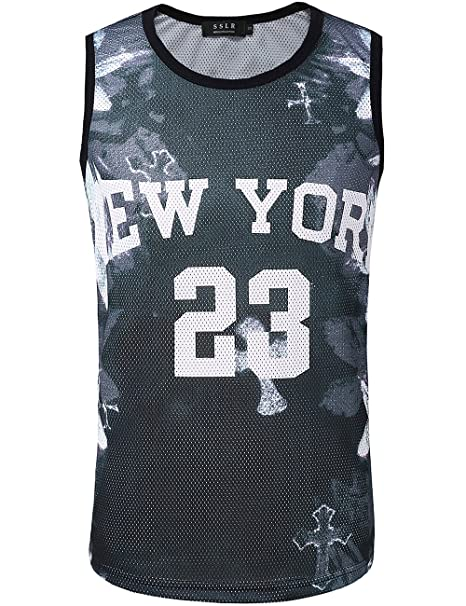 SSLR Camiseta con Tirantes Tank Top Deportivo Respirable Estampada de NBA New York para Hombre (