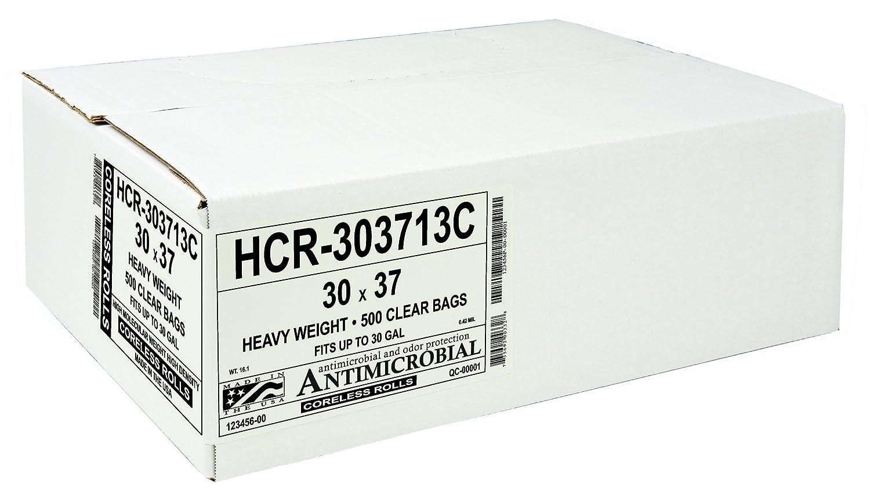 Pack of 500 30 x 37 30 x 37 Aluf Plastics Commercial Aluf Plastics HCR-303710C High Density Star Sealed Coreless Roll Bags 30 gal Polyethylene Clear