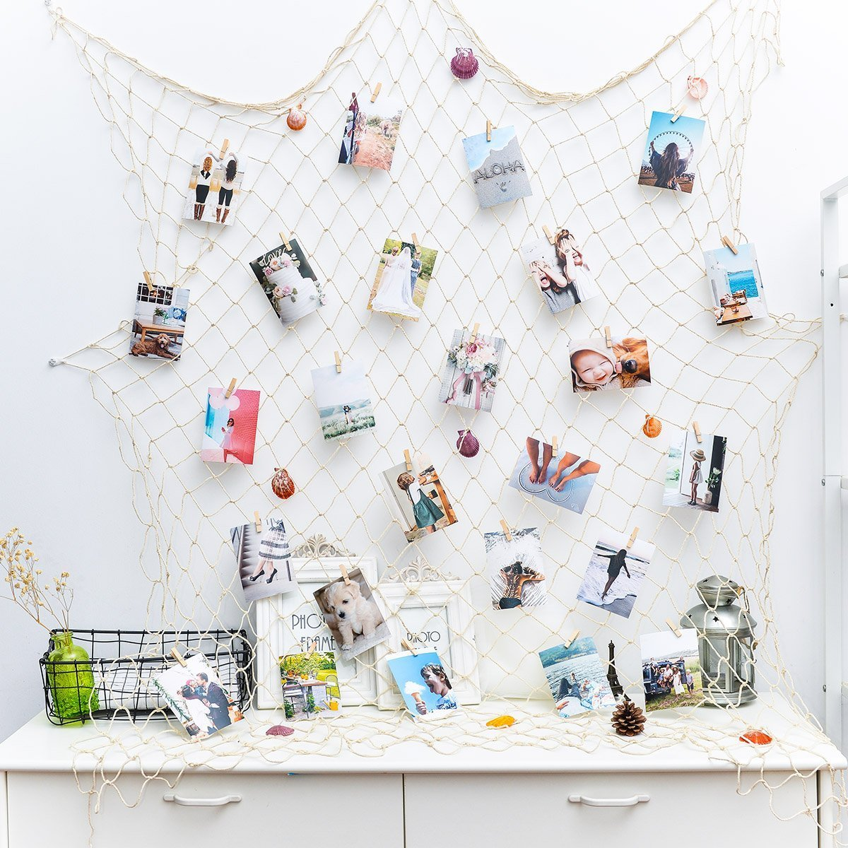 Photo Hanging Display Nautical Fishing Net with 40 Clips - Picture Frames Family Photos Organizer & Collage Artworks for Dorm Bedroom Wedding Birthday Party Deco (Beige) Sunshinetimes