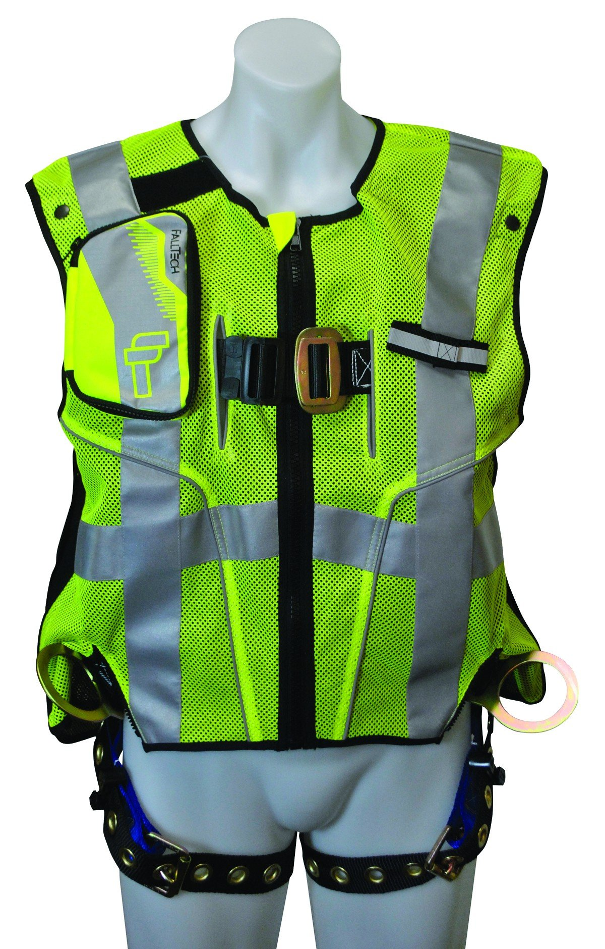 FallTech 7018LXL Hi-Vis Vest Harness, Non-Belted FBH - 3 D-Rings, Back and Side, Tongue Buckle Legs and Mating Buckle Chest, Class 2 Vest, Lime, Large/X-Large, Lime/Blue by FallTech (Image #1)