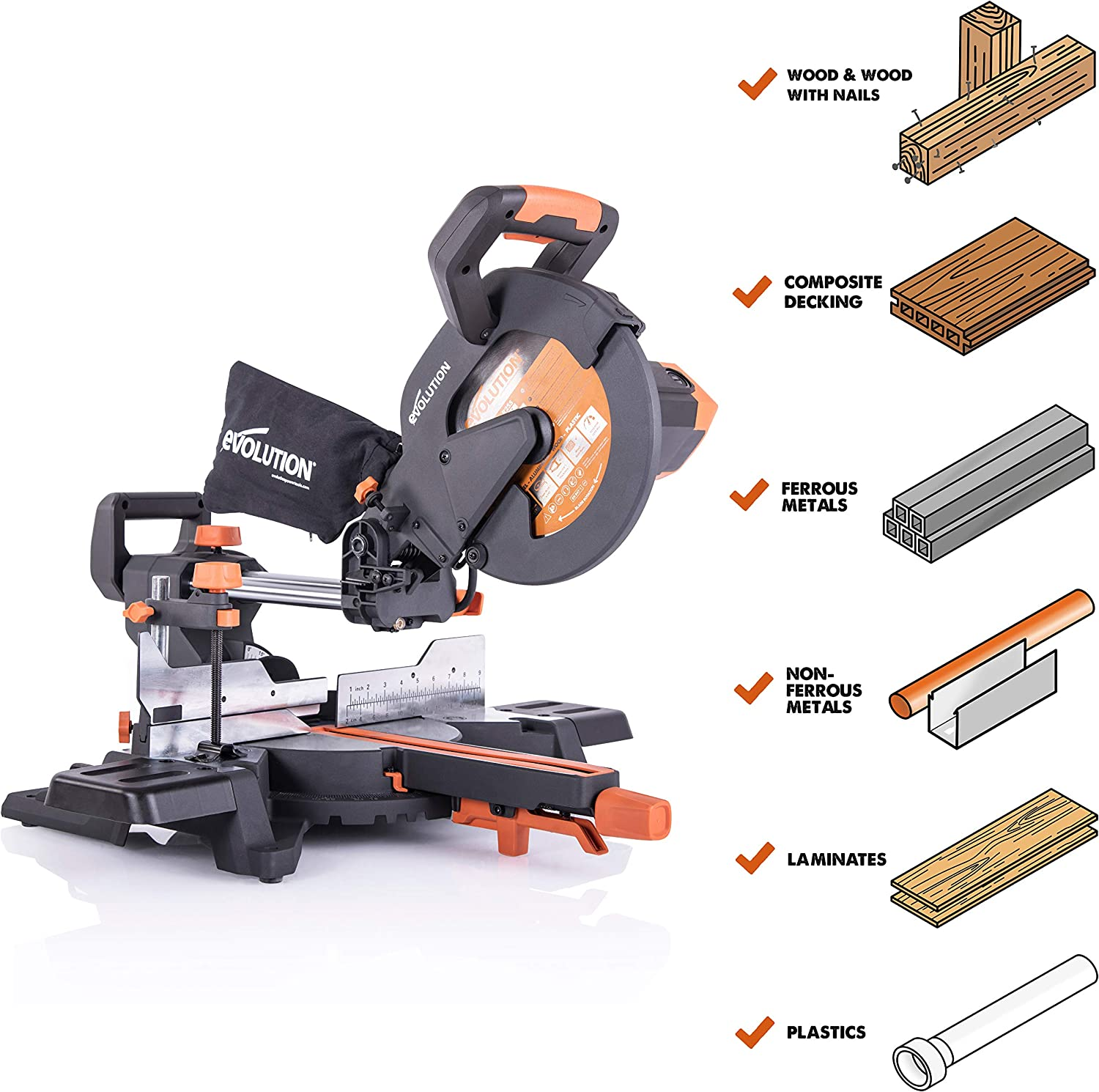 Evolution Power Tools R255SMS 10 Multi-Material Compound Sliding Miter Saw Plus
