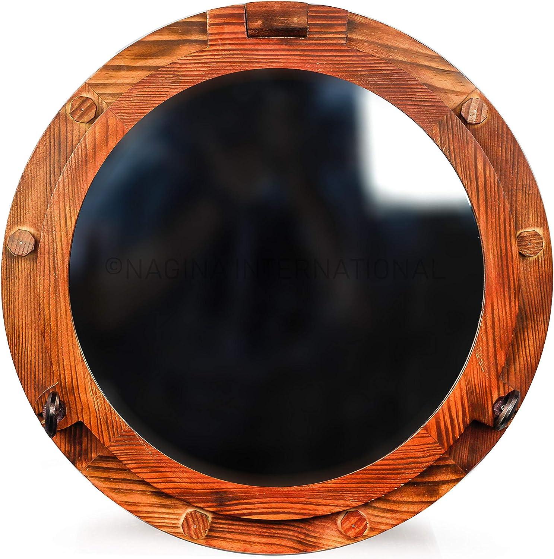 Wooden Nautical Porthole Mirror