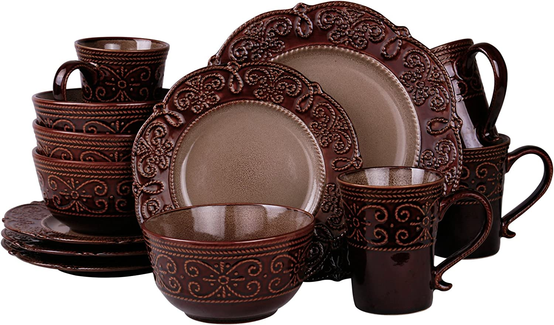 Elama Salia Round Decorated Stoneware Scallop Embossed Dinnerware Dish Set, 16 Piece, Brown