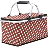 Picnic Basket, SUROY Insulated Folding Collapsible Market Picnic Basket Zip Closure Basket with Carrying Handles for Outdoor Picnic (Coffee Spot)