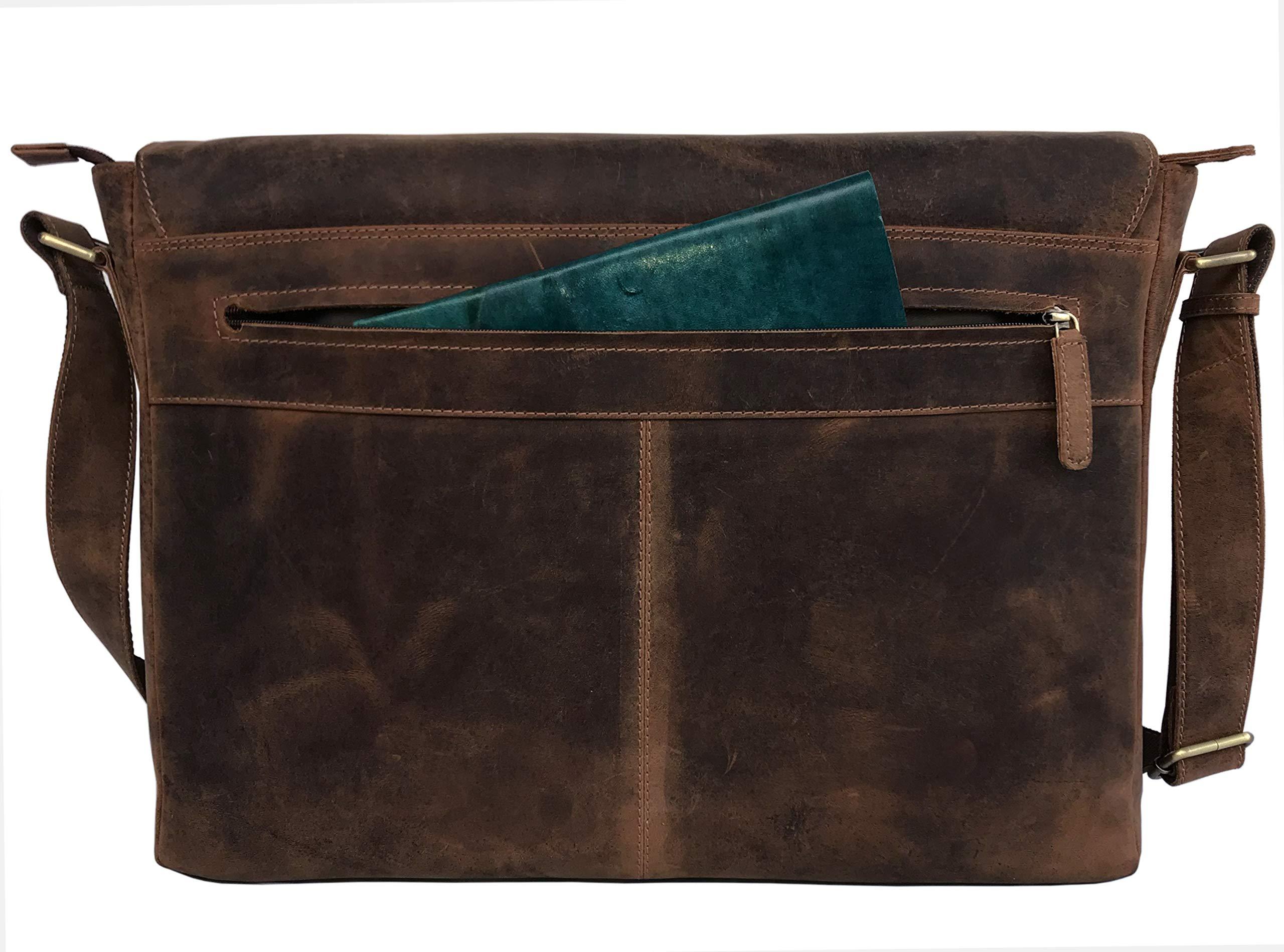 18'' Leather Messenger Bag Vintage Buffalo Satchel Laptop Briefcase Unisex Computer Bags for Men Women (Vintage Brown) by cuero (Image #4)