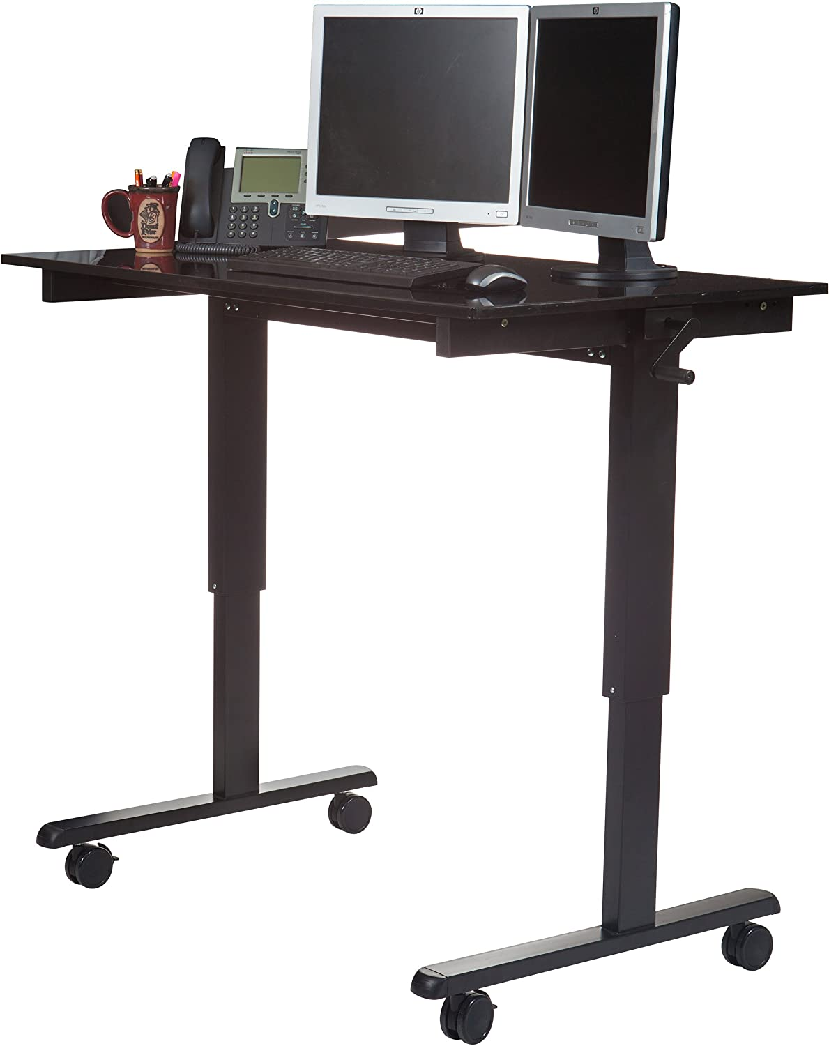 Amazon Com Crank Adjustable Height Standing Desk Black Frame