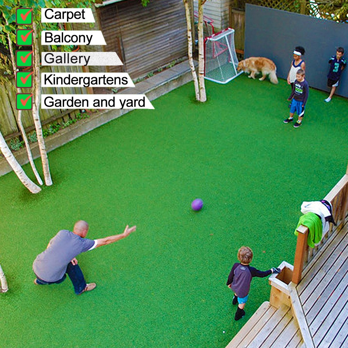GT LIFE Artificial Grass for Dogs Synthetic Turf Artificial Lawn Rug with Drainage Holes&Rubber Backing, Blade Height 1.2inch Indoor/Outdoor Landscape (3.3x5=16.5 Sq ft, Autumn Lawn)