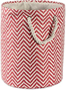 "DII Woven Paper Basket or Bin, Collapsible & Convenient Home Organization Solution for Bedroom, Bathroom, Dorm or Laundry (Large Round - 15x20"") - Rust Chevron"