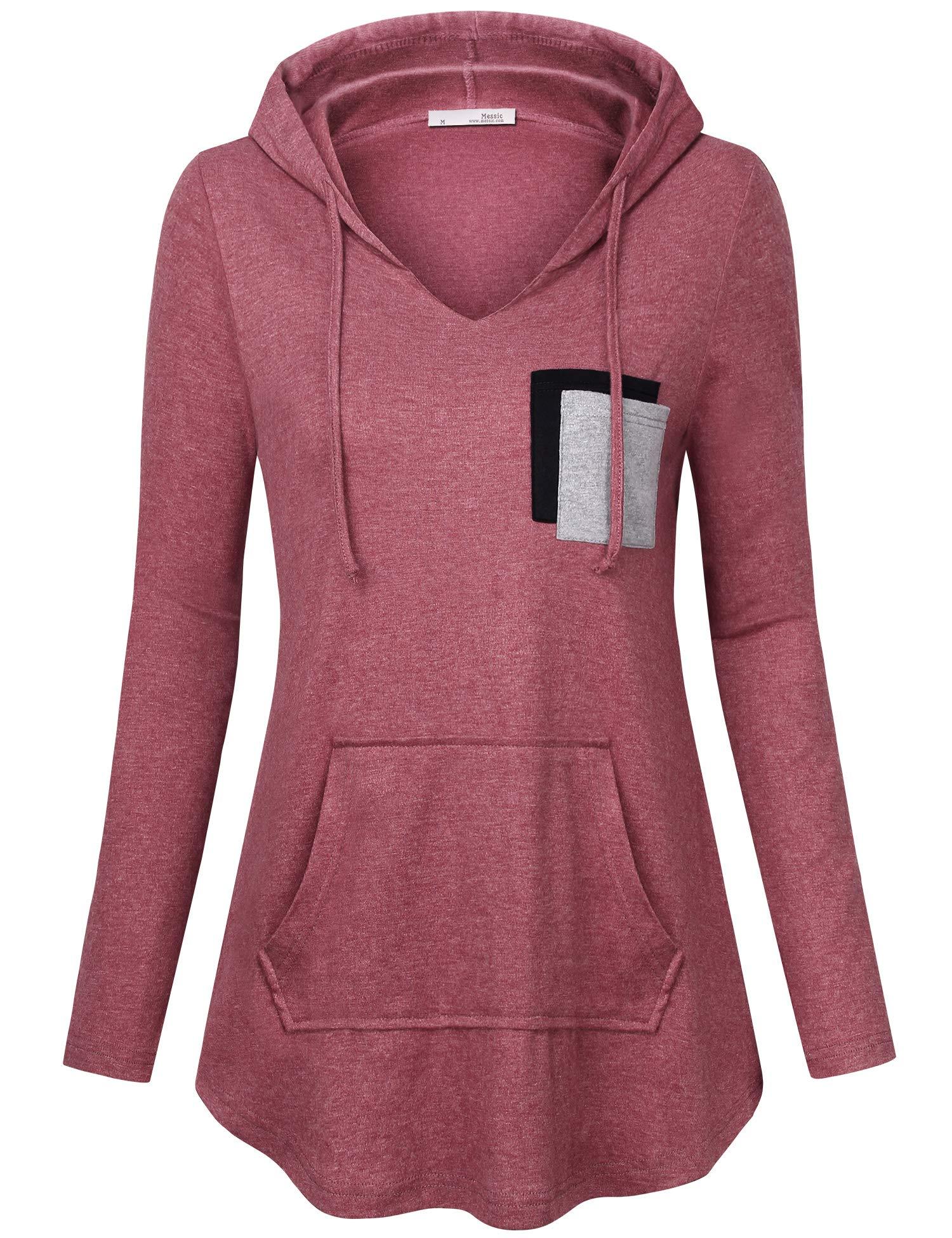 Messic Women Hoodies & Sweatshirts, Womens Casual Pullover Sweaters V-Neck Hoodie Long Sleeve Kangaroo Pocket Tunic Sweatshirt Loose Fit Tunic Tops Wine Red Medium