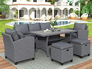 Merax 6 Pieces Patio Furniture Sectional Outdoor Dining Set PE Rattan Wicker Sofa with Chair, Stools and Table, Gray
