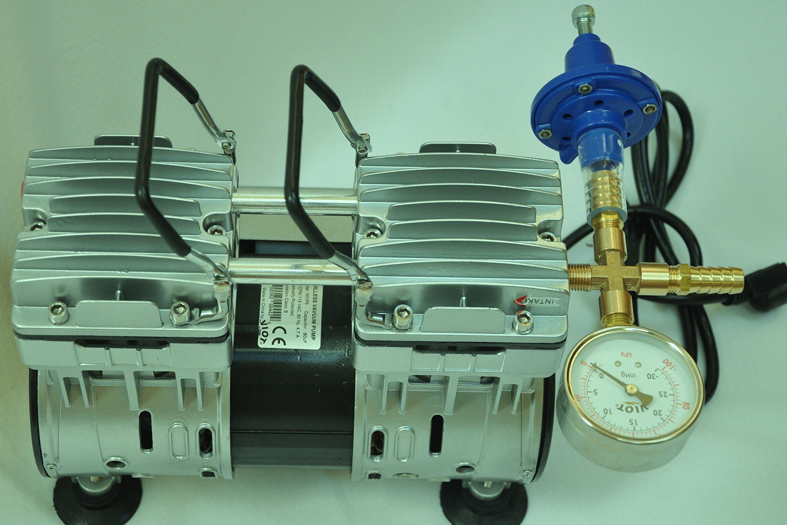 Controlled Twin Piston Oil-less Vacuum Pump 5.5CFM 3/4HP Regulator/Gauge Hardware Kit Pressure Control Oil-Free Clean No Oil Mist by VIOT