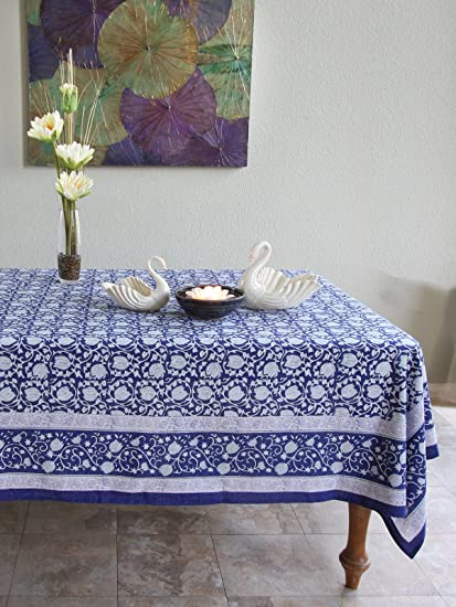 Midnight Lotus ~ Asian Oriental Blue Floral Banquet Tablecloths 70x108
