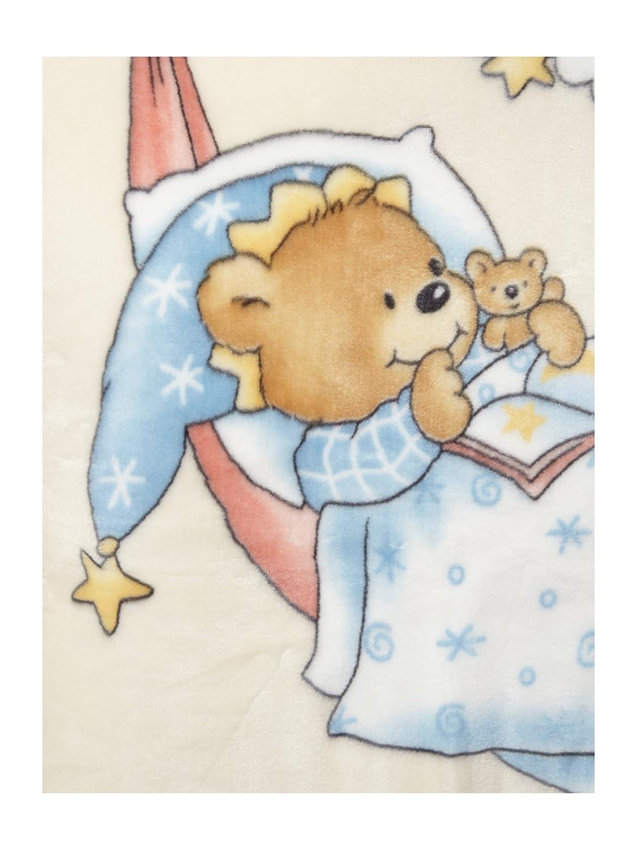 80 x 110 cm Lullababy Linens Printed Baby Blanket Beige Polyester 110 x 80 x 1 cm