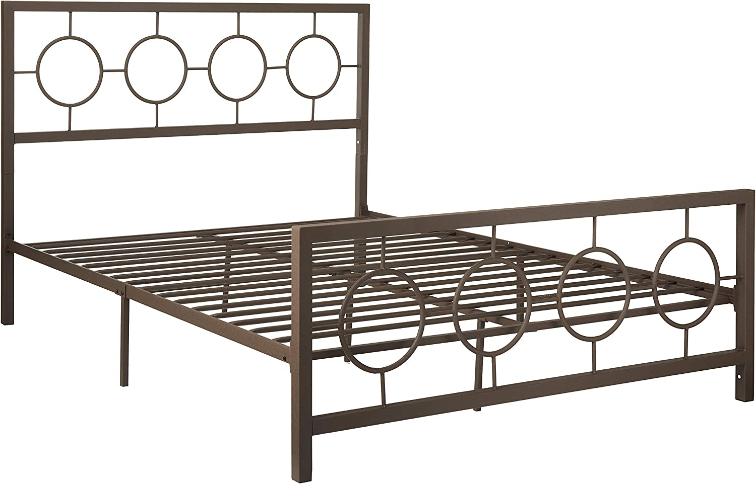 Christopher Knight Home Doris Queen-Size Geometric Platform Bed Frame, Iron, Modern, Low-Profile, Hammered Copper