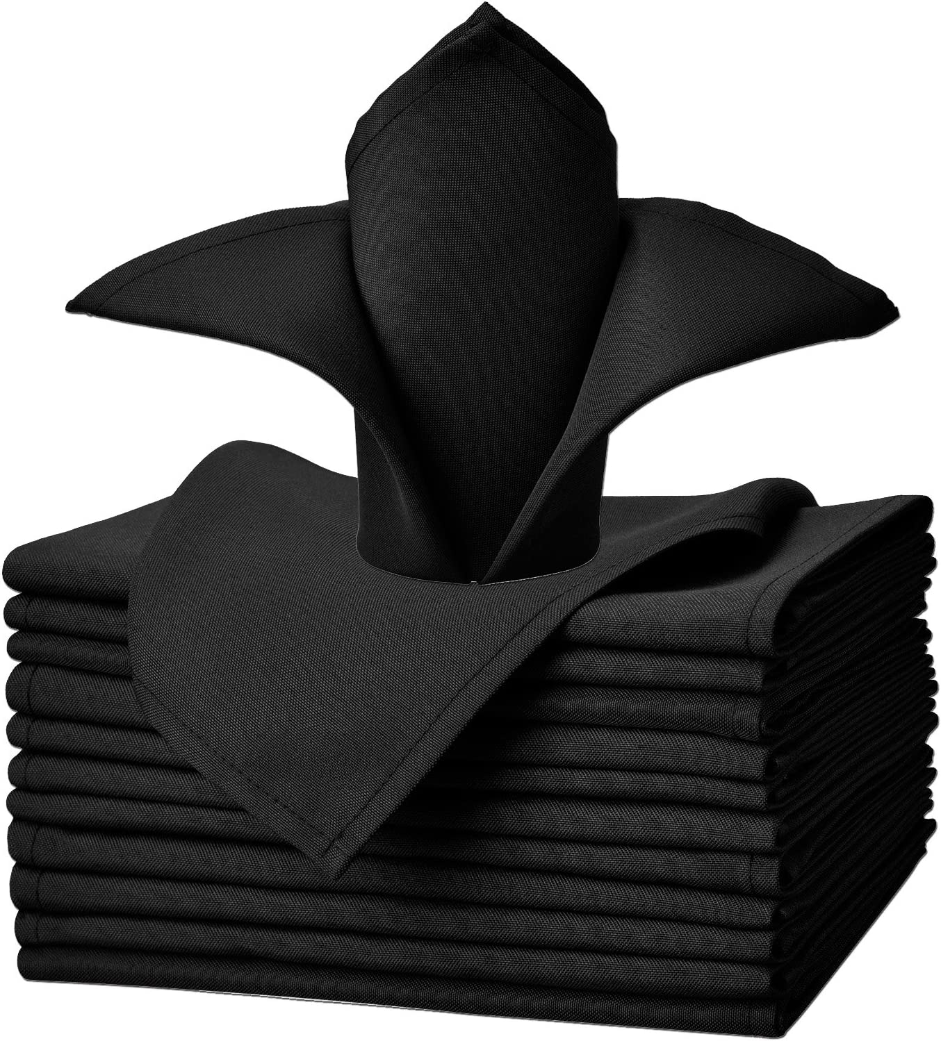 VEEYOO Cloth Napkins Set of 12 Pieces Solid Polyester Napkins Soft Fabric Washable and Reusable Dinner Napkin for Banquet Wedding Restaurant (Black, 20x20 inch)
