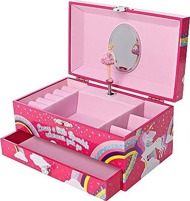 GirlZone Regalos para Niñas -Joyero Caja de Música para Niñas Joyero Musical Infantil con Bailarina, Música del Lago de los Cisnes y Espejo - para Anillos, Pulseras, Pendientes: Amazon.es: Joyería