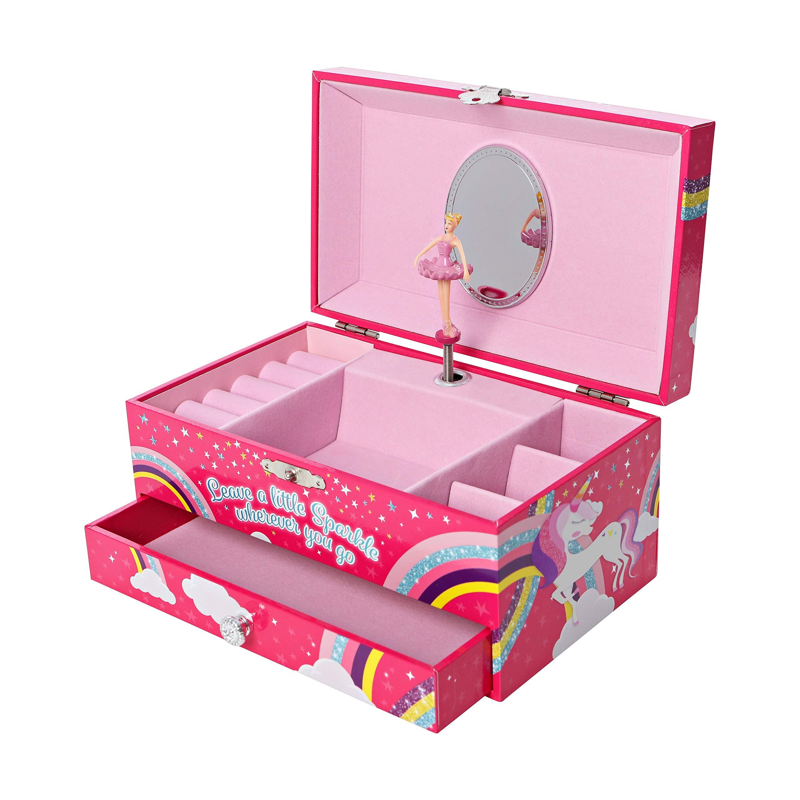 GirlZone Unicorn Musical Jewelry Box, Ballerina Music Box for Girls, Great Birthday Gift For Girls