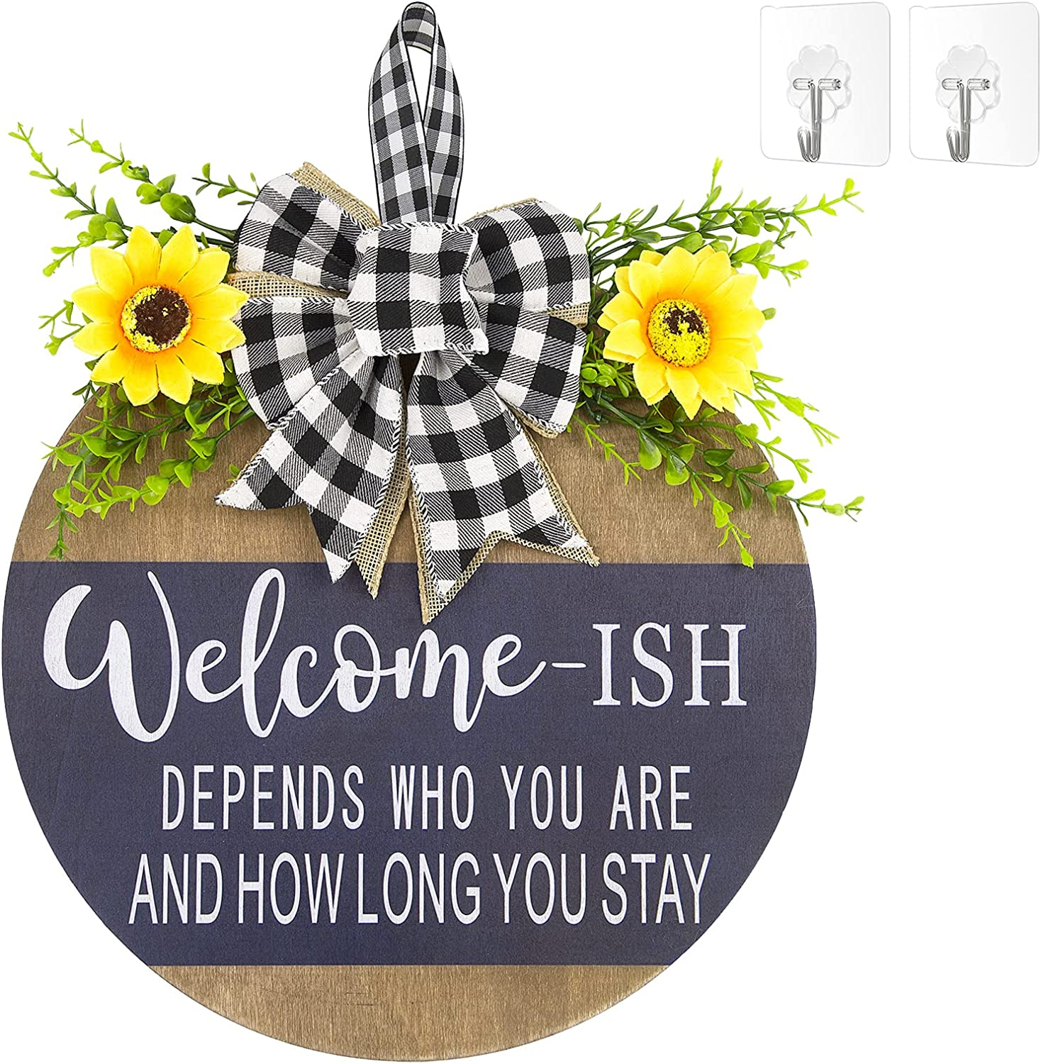 Welcome Sign Front Door Decor,Restaurant,home,outdoor,porch/home decoration,Wood 12Inch,New Year,Christmas, Easter,Housewarming Gifts (blue)