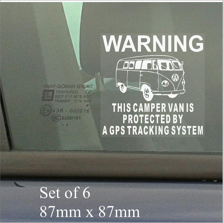 Platinum Place Lot de 6 autocollants dissuasifs en vinyle pour fenêtre Système de suivi GPS Sécurité de fourgonnettes Alarme de sécurité