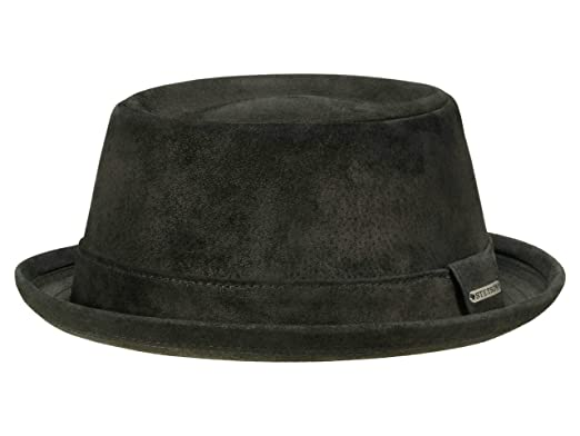 2edb0c373813b0 Amazon.com: Stetson Pork Pie Pig Skin Leather Pork Pie Hat Water Repellent:  Clothing