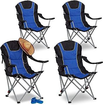 Relaxdays Pack de 4 Sillas Plegables Camping con Respaldo ...