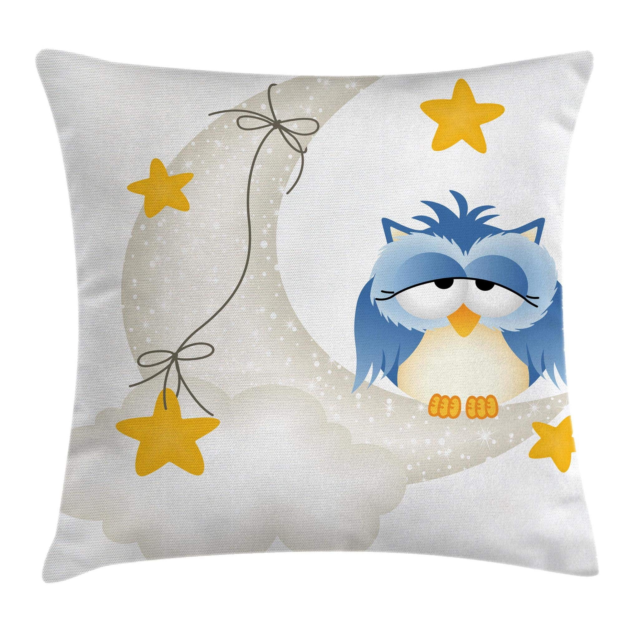 Ambesonne Kids Throw Pillow Cushion Cover, Cute Owl Dozing on Crescent Moon with Stars Good Sleep Baby Print, Decorative Square Accent Pillow Case, 20 X 20 Inches, Light Blue Pearl Earth Yellow
