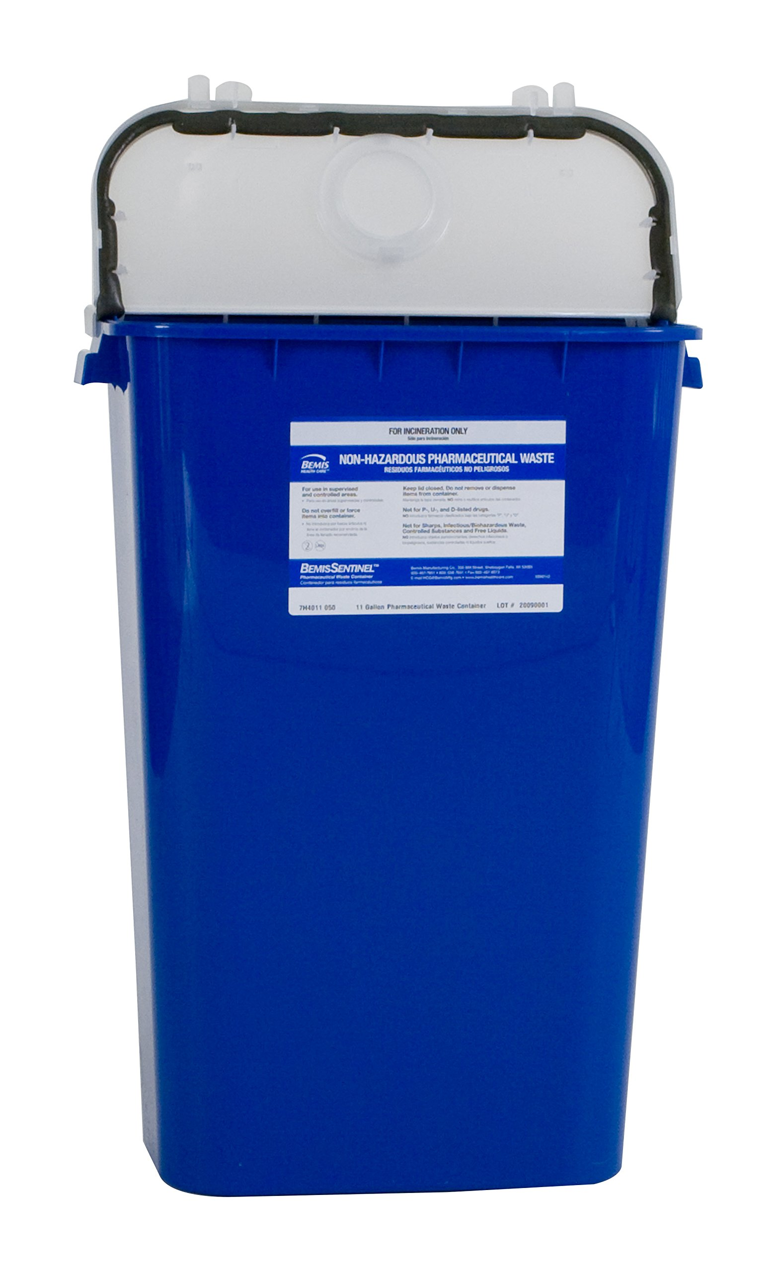 Bemis Healthcare 4011050-6 11 gal Pharmaceutical Waste Container, Blue (Pack of 6)