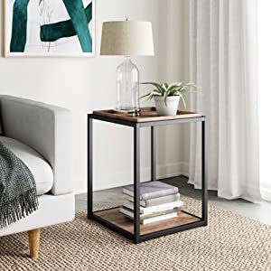 Nathan James Nash Modern Industrial Accent End or Side Table with Tray Top Wood Shelves & Durable Matte Metal Frame, Rustic Oak