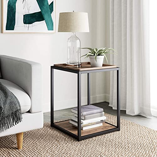 Nathan James Nash Modern Industrial Accent End or Side Table with Tray Top Wood Shelves Durable Matte Metal Frame, Rustic Oak