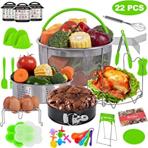 PentaQ 22 Pieces Instant Pot Accessories for 5/6/8 Quart, Pressure Cooker Accessories Set Green - 2 Steamer Baskets, Egg Bites Mold, 7 Inch Springform Pan, Egg Rack, Magnetic Cheat Sheets