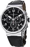 Ulysse Nardin Marine Chronograph Manufacture Men's Black Leather Strap Automatic Watch 1503-150/62