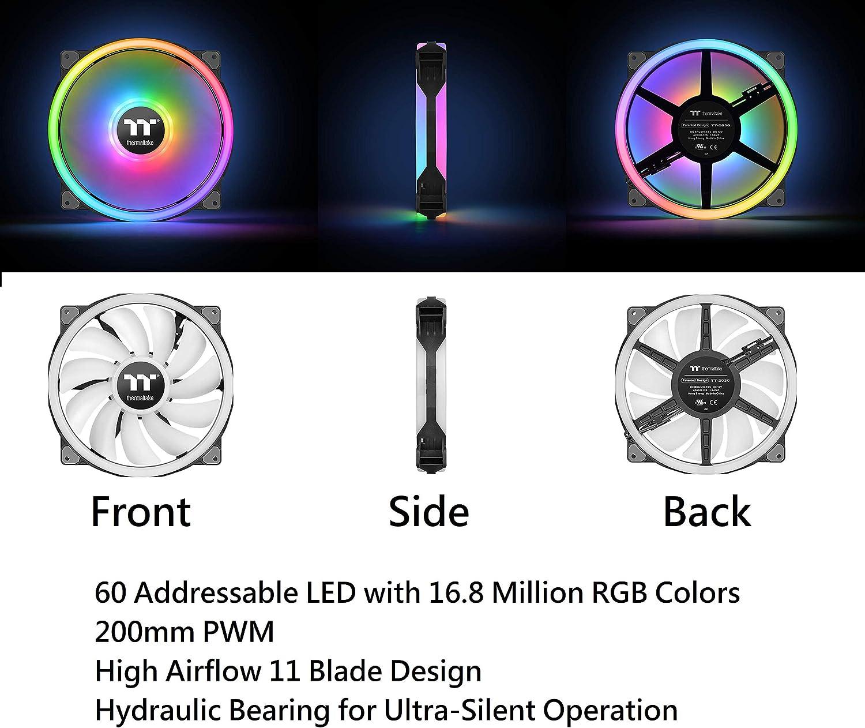 3 Pack CL-F089-PL14SW-B Software Enabled 4 Light Rings 54 Addressable LED 9 Blades Hydraulic Bearing Case//Radiator Fan Alexa, Razer Chroma Thermaltake Riing Quad 140mm 16.8 Million RGB Color