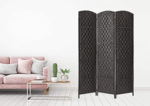 Legacy Decor 3 Panel Diamond Weave Fiber Room Divider, Black Color