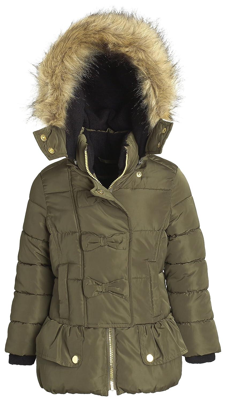 Sportoli Girls Fleece Lined Hooded Puffer Coat Fashion Detailed Dressy Parka
