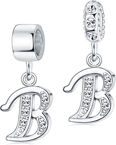 Bead Initial B Stainless Steel Jewelry Fit European Charm Bracelet Free Shipping