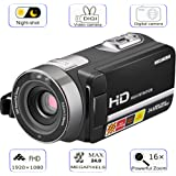 """Camera Camcorder, WELIKERA Remote Control Handy Camera, IR Night Vision Camcorder, HD 1080P 24MP 16X Digital Zoom Video Camcorder with 3.0"""" LCD and 270 Degree Rotation Screen"""