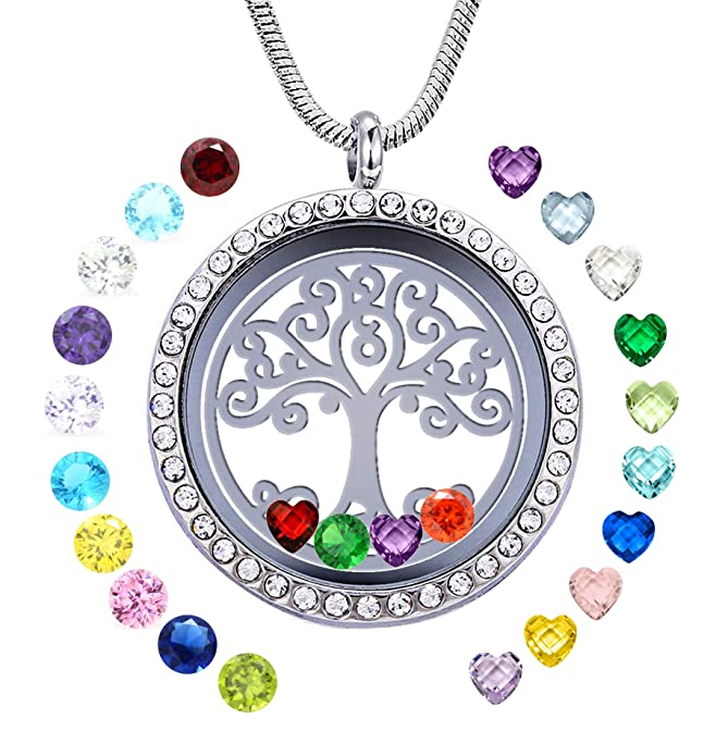 JOLIN Famliy Tree of Life Necklace Floating Charms Memory Locket DIY Pendant with 24 Birthstones for Mummy Mom Mother Grandma Nana Aunt Niece Sister Women Girls