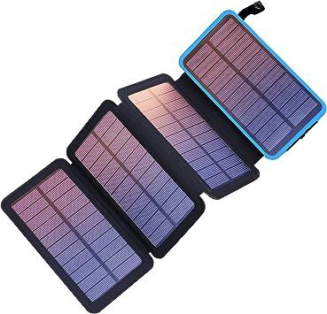 Pealiker - Cargador Solar portátil de 25000 mAh con Doble Salida ...