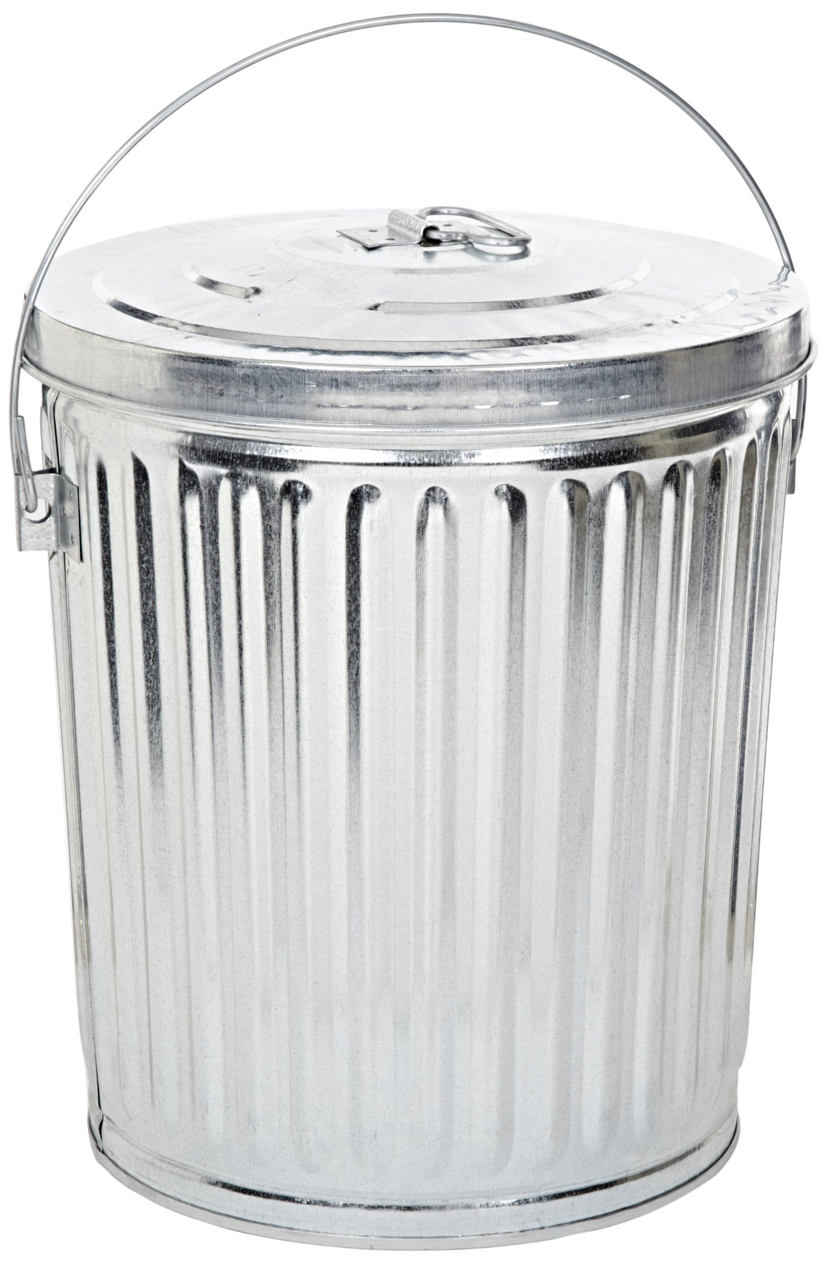 Witt Industries 10GPCL Galvanized Steel 10-Gallon Light Duty Waste Pail and Lid, Round,  16'' Diameter x 17-1/4'' Height, Silver