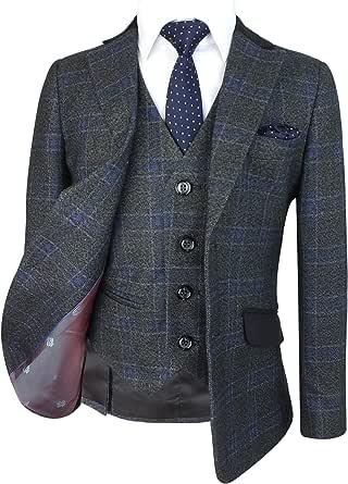 SIRRI Los Exclusivos Trajes de Diseño Plaid Tweed Slim Fit para Niños