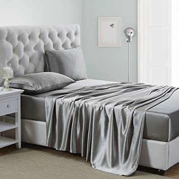OOSilk 4 Pieces 100% Mulberry Charmeuse Silk Bed Sheet Set (Queen, Silver  Grey