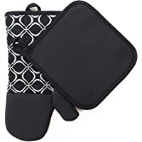Heat Resistant Hot Oven Mitts & Pot Holders for Kitchen Set with Cotton Neoprene Silicone Non-Slip Grip Set of 2, Oven…