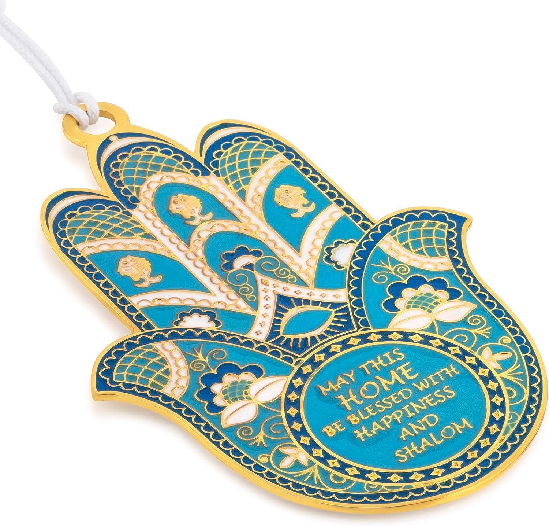 SURI Turquoise Hamsa Hand Wall Decor, Hamsa Home Blessing Plaque in English, Gold Plated Chamsa Evil Eye Metal Art Wall Decor, Modern Good Luck Charms