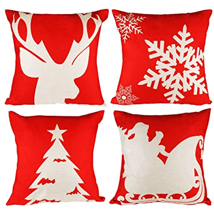 throw pillow cover 18x18 christmas pillow covers set of 4 pillow cases home car decorative