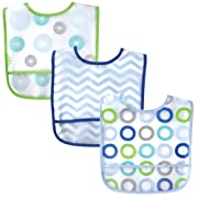 Luvable Friends 3 Piece Waterproof Bibs with Crumb Catcher, Blue Pinwheels