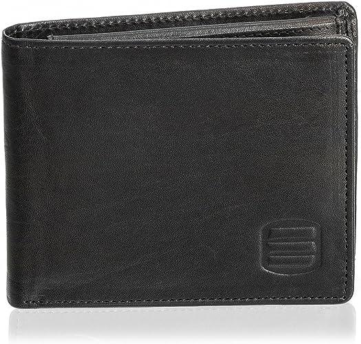 Men/'s Full Leather Card Case 4 Slots 2 Slip Pockets Bifold Back Pocket Size Slim